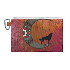 Black Wolf On Decorative Steampunk Moon Canvas Cosmetic Bag (large) by FantasyWorld7