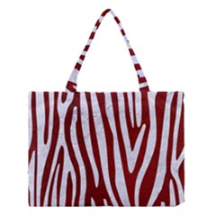 Skin3 White Marble & Red Grunge (r) Medium Tote Bag by trendistuff