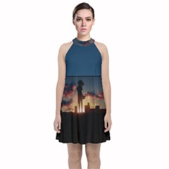 Art Sunset Anime Afternoon Velvet Halter Neckline Dress  by Sapixe