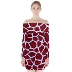 Skin1 White Marble & Red Grunge (r) Long Sleeve Off Shoulder Dress