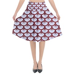 Scales3 White Marble & Red Grunge (r) Flared Midi Skirt