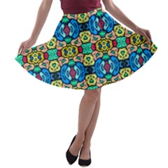 Colorful 22 A Line Skater Skirt