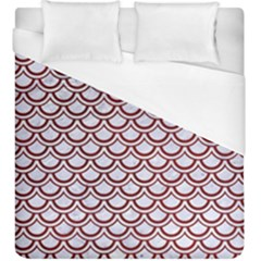 Scales2 White Marble & Red Grunge (r) Duvet Cover (king Size) by trendistuff