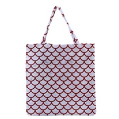 Scales1 White Marble & Red Grunge (r) Grocery Tote Bag by trendistuff