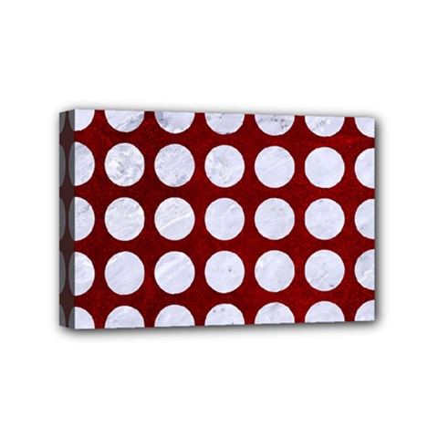 Circles1 White Marble & Red Grunge Mini Canvas 6  X 4  by trendistuff