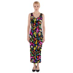 Artwork By Patrick Colorful 24 Fitted Maxi Dress