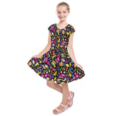 Artwork By Patrick Colorful 24 Kids  Short Sleeve Dress