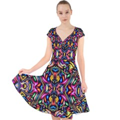 Artwork By Patrick Colorful 24 1 Cap Sleeve Front Wrap Midi Dress