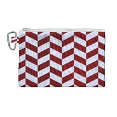 Chevron1 White Marble & Red Grunge Canvas Cosmetic Bag (large) by trendistuff