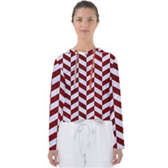 Chevron1 White Marble & Red Grunge Women s Slouchy Sweat
