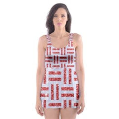 Woven1 White Marble & Red Glitter (r) Skater Dress Swimsuit