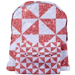 Triangle1 White Marble & Red Glitter Giant Full Print Backpack