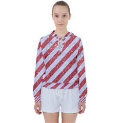 Stripes3 White Marble & Red Glitter (r) Women s Tie Up Sweat
