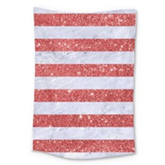 Stripes2white Marble & Red Glitter Large Tapestry by trendistuff