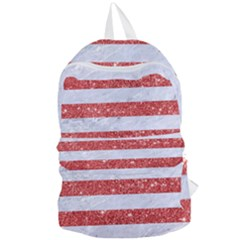 Stripes2white Marble & Red Glitter Foldable Lightweight Backpack by trendistuff