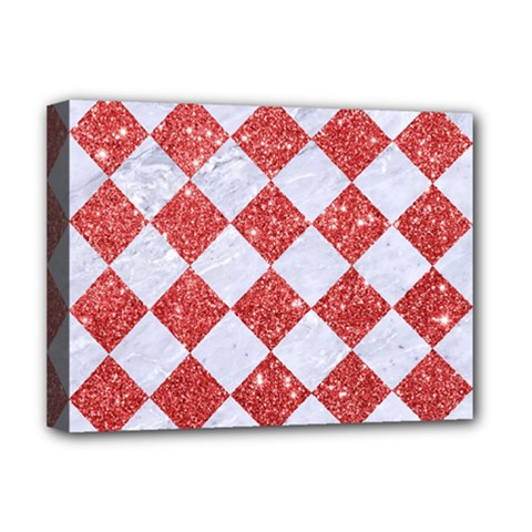 Square2 White Marble & Red Glitter Deluxe Canvas 16  X 12   by trendistuff