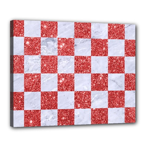 Square1 White Marble & Red Glitter Canvas 20  X 16  by trendistuff