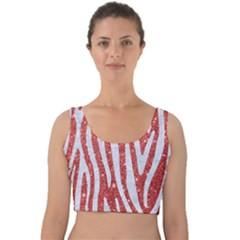 Skin4 White Marble & Red Glitter (r) Velvet Crop Top