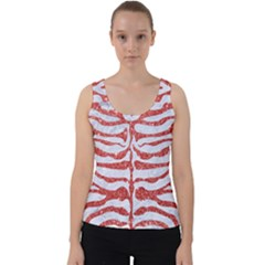Skin2 White Marble & Red Glitter (r) Velvet Tank Top