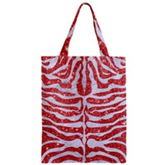 Skin2 White Marble & Red Glitter Zipper Classic Tote Bag by trendistuff