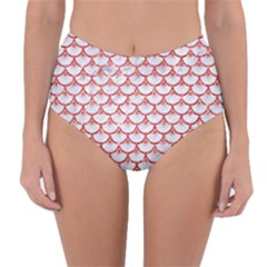 Scales3 White Marble & Red Glitter (r) Reversible High Waist Bikini Bottoms
