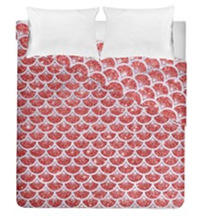 Scales3 White Marble & Red Glitter Duvet Cover Double Side (queen Size) by trendistuff