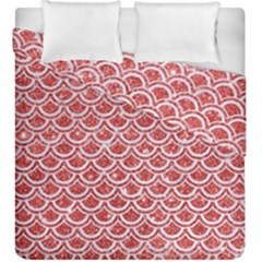 Scales2 White Marble & Red Glitter Duvet Cover Double Side (king Size) by trendistuff