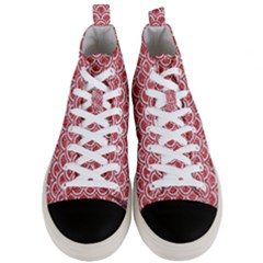Scales2 White Marble & Red Glitter Men s Mid Top Canvas Sneakers