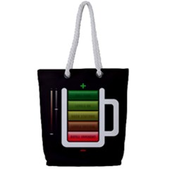 Black Energy Battery Life Full Print Rope Handle Tote (small)