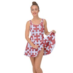 Puzzle1 White Marble & Red Glitter Inside Out Dress