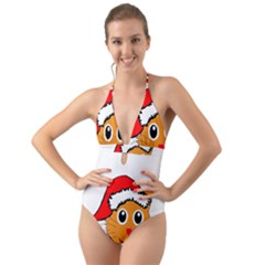 Cat Christmas Cartoon Clip Art Halter Cut Out One Piece Swimsuit by Sapixe