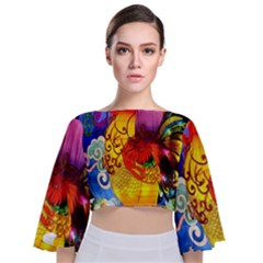 Chinese Zodiac Signs Tie Back Butterfly Sleeve Chiffon Top