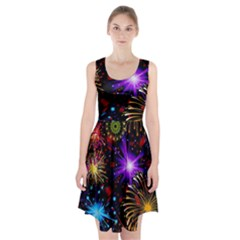Celebration Fireworks In Red Blue Yellow And Green Color Racerback Midi Dress