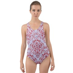Damask1 White Marble & Red Glitter (r) Cut Out Back One Piece Swimsuit by trendistuff