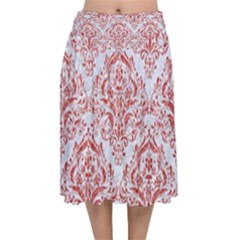 Damask1 White Marble & Red Glitter (r) Velvet Flared Midi Skirt