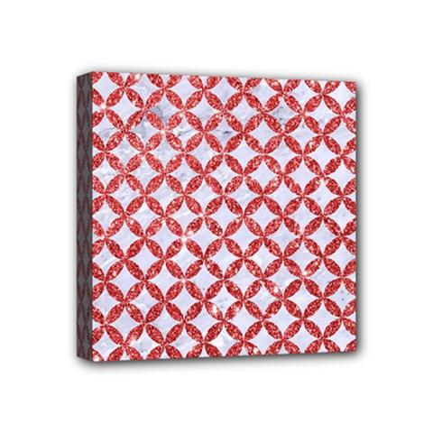 Circles3 White Marble & Red Glitter (r) Mini Canvas 4  X 4  by trendistuff