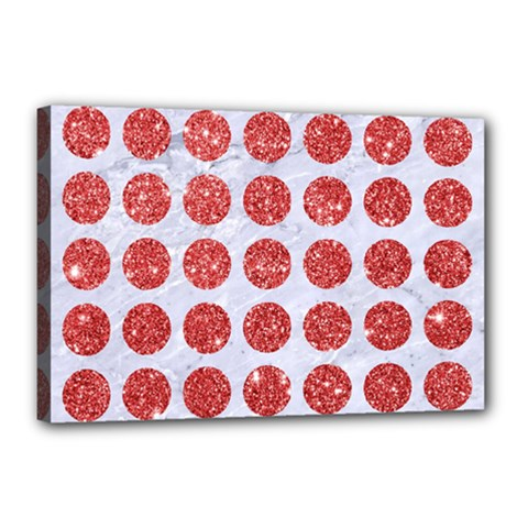 Circles1 White Marble & Red Glitter (r) Canvas 18  X 12  by trendistuff