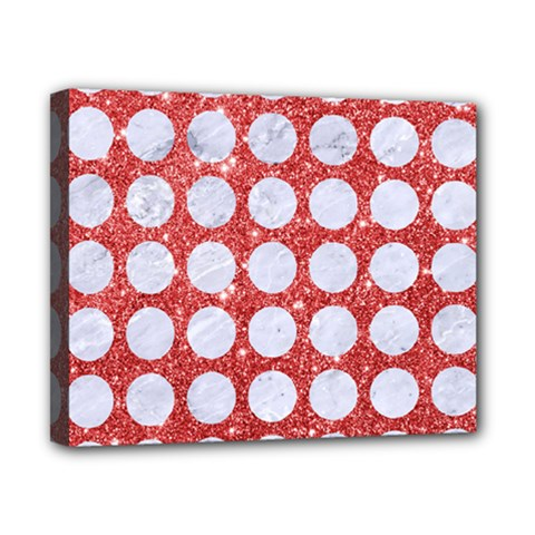 Circles1 White Marble & Red Glitter Canvas 10  X 8  by trendistuff