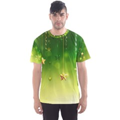 Christmas Green Background Stars Snowflakes Decorative Ornaments Pictures Men s Sports Mesh Tee