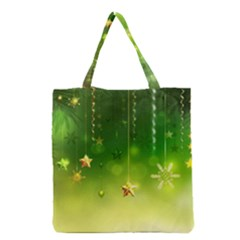 Christmas Green Background Stars Snowflakes Decorative Ornaments Pictures Grocery Tote Bag by Sapixe
