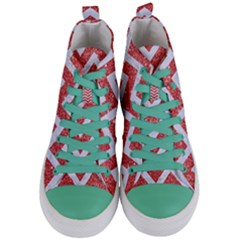 Chevron9 White Marble & Red Glitter Women s Mid Top Canvas Sneakers