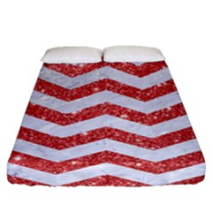 Chevron3 White Marble & Red Glitter Fitted Sheet (queen Size) by trendistuff
