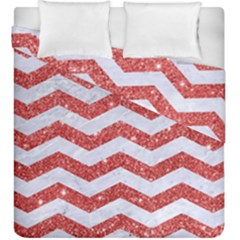 Chevron3 White Marble & Red Glitter Duvet Cover Double Side (king Size)