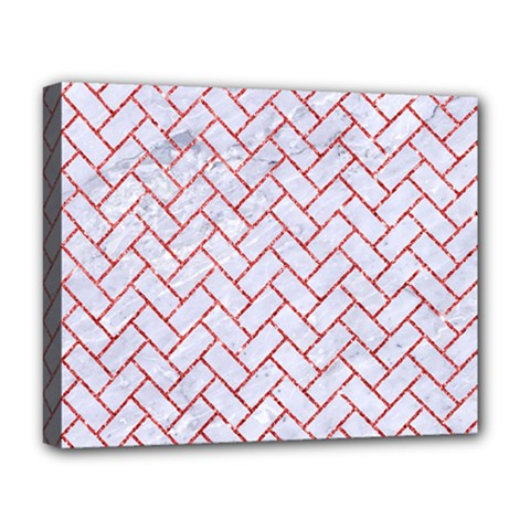Brick2 White Marble & Red Glitter (r) Deluxe Canvas 20  X 16   by trendistuff