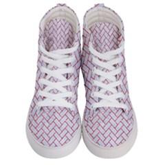 Brick2 White Marble & Red Glitter (r) Women s Hi Top Skate Sneakers