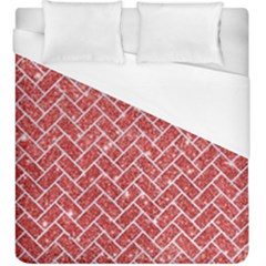 Brick2 White Marble & Red Glitter Duvet Cover (king Size) by trendistuff