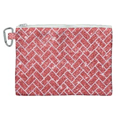 Brick2 White Marble & Red Glitter Canvas Cosmetic Bag (xl) by trendistuff