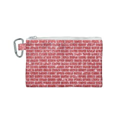 Brick1 White Marble & Red Glitter Canvas Cosmetic Bag (small) by trendistuff