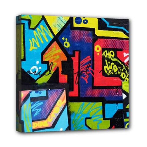 Urban Graffiti Movie Theme Productor Colorful Abstract Arrows Mini Canvas 8  X 8  by MAGA