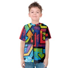Urban Graffiti Movie Theme Productor Colorful Abstract Arrows Kids  Cotton Tee